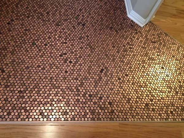 The penny floor consists of 8,478 pennies. (Photo courtesy of Angie's List member Laurie Eaton of Georgetown, Texas)