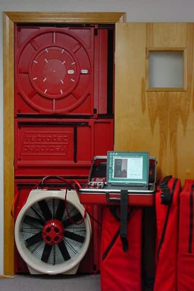 A blower door is just one of many tools that an energy auditor can utilize to help determine problem areas in your home and make them more efficient, says Martens. (Photo courtesy of Pro Energy Consultants)