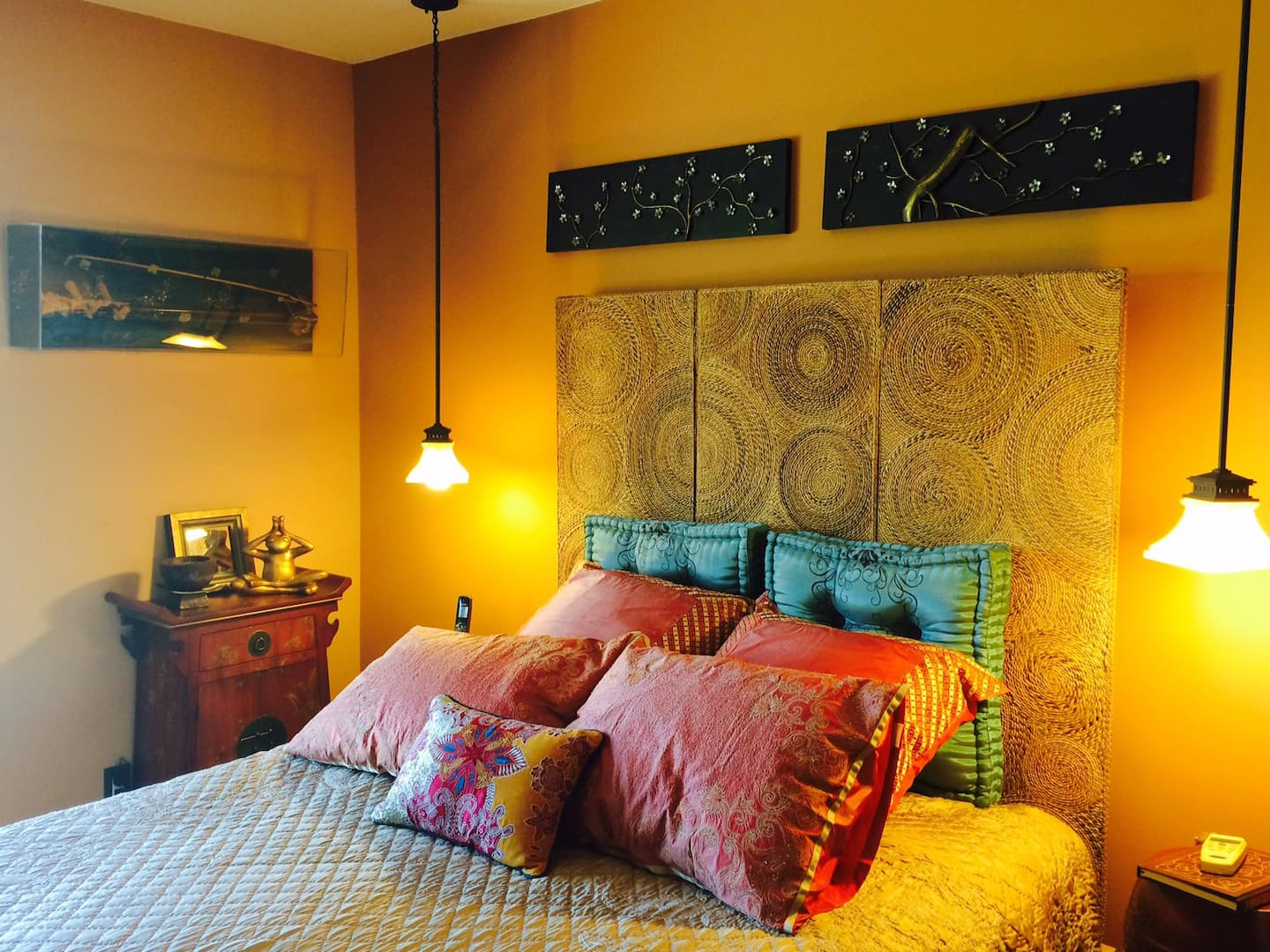 Bedroom with pendant lights