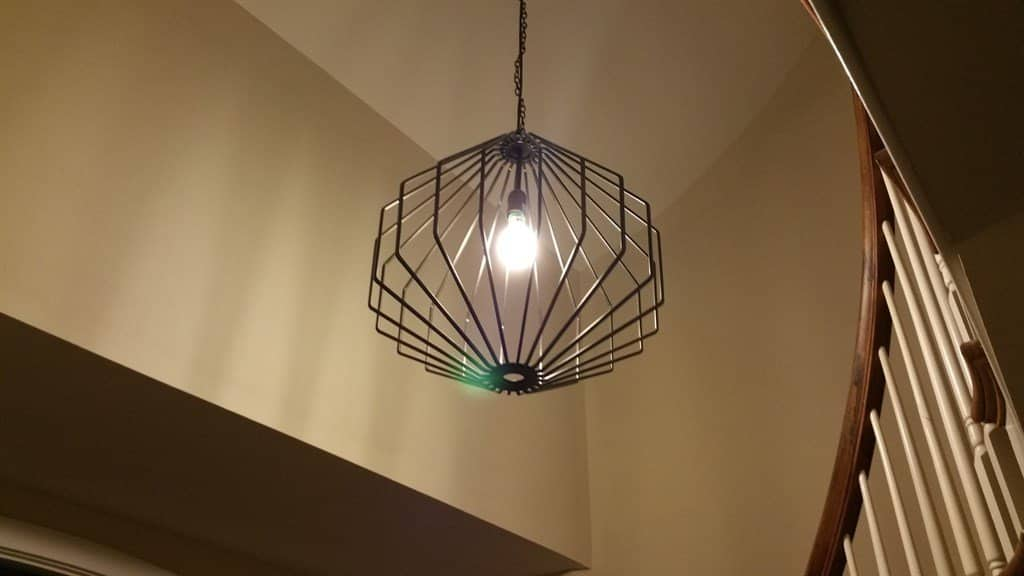 metal octogan shaped ceiling chandelier with single bulb