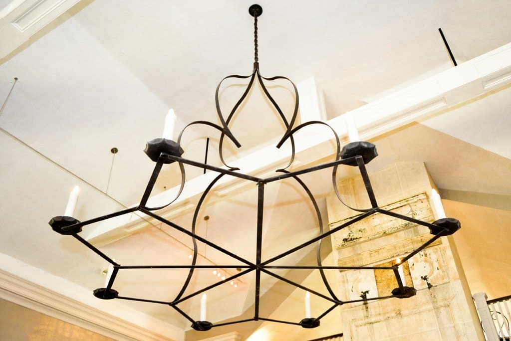 wrought iron chandelier with candle shaped lights