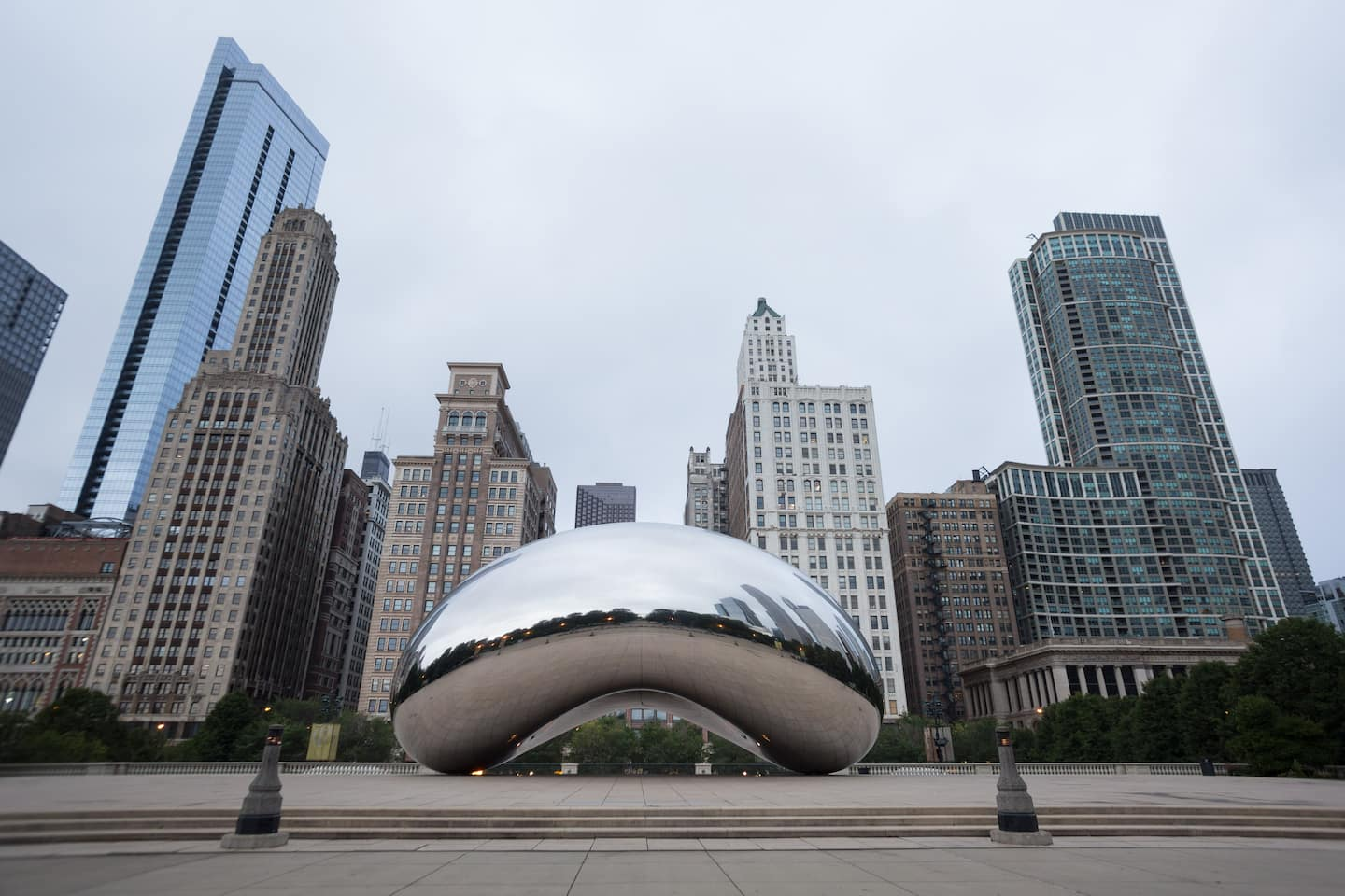 cleaning the Bean in downtown Chicago