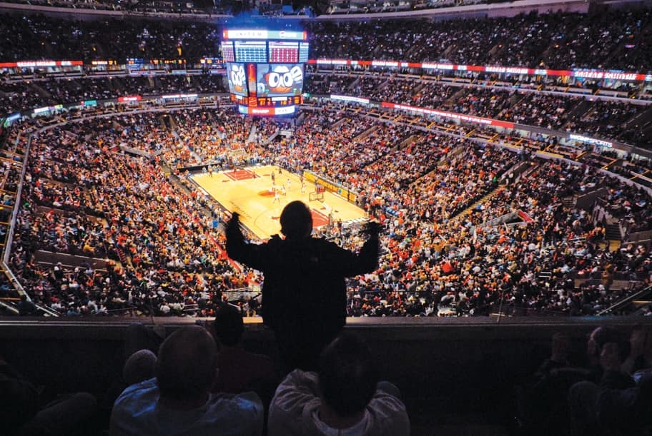 The United Center is lit up with corporate sponsorships during Chicago Bulls games. The team's latest sponsor, Roto-Rooter, will take up space in the arena's bathrooms. (Photo courtesy of the City of Chicago)