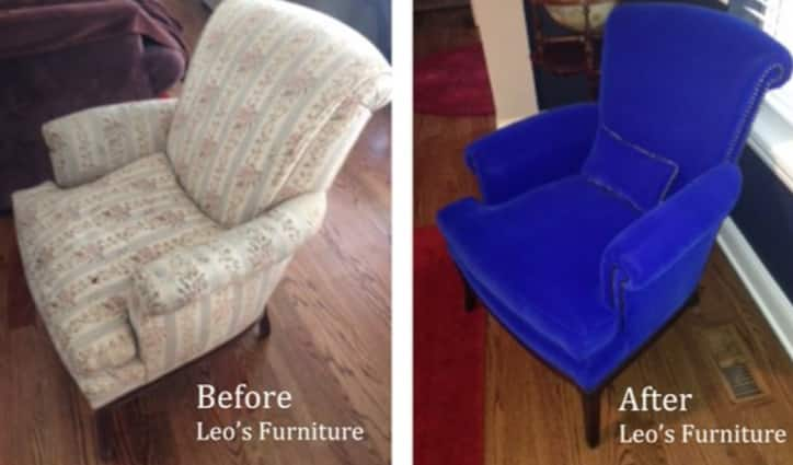 Here are before and after photos of the chair Angie's List member Sue Myers reupholstered chair. (Photo courtesy of Sue Myers of Glen Ellyn, Ill.)