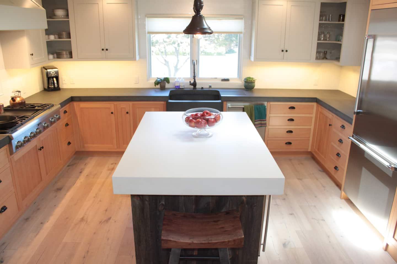 kitchen gray concrete and countertops island dove pin