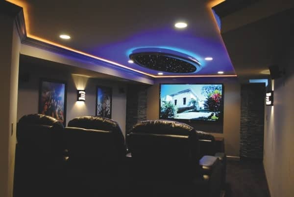 J & F Specialties turned one portion of Herndon member Jesse Tacogue's unfinished basement into a home theater. (Photo courtesy of Jesse Tacogue)