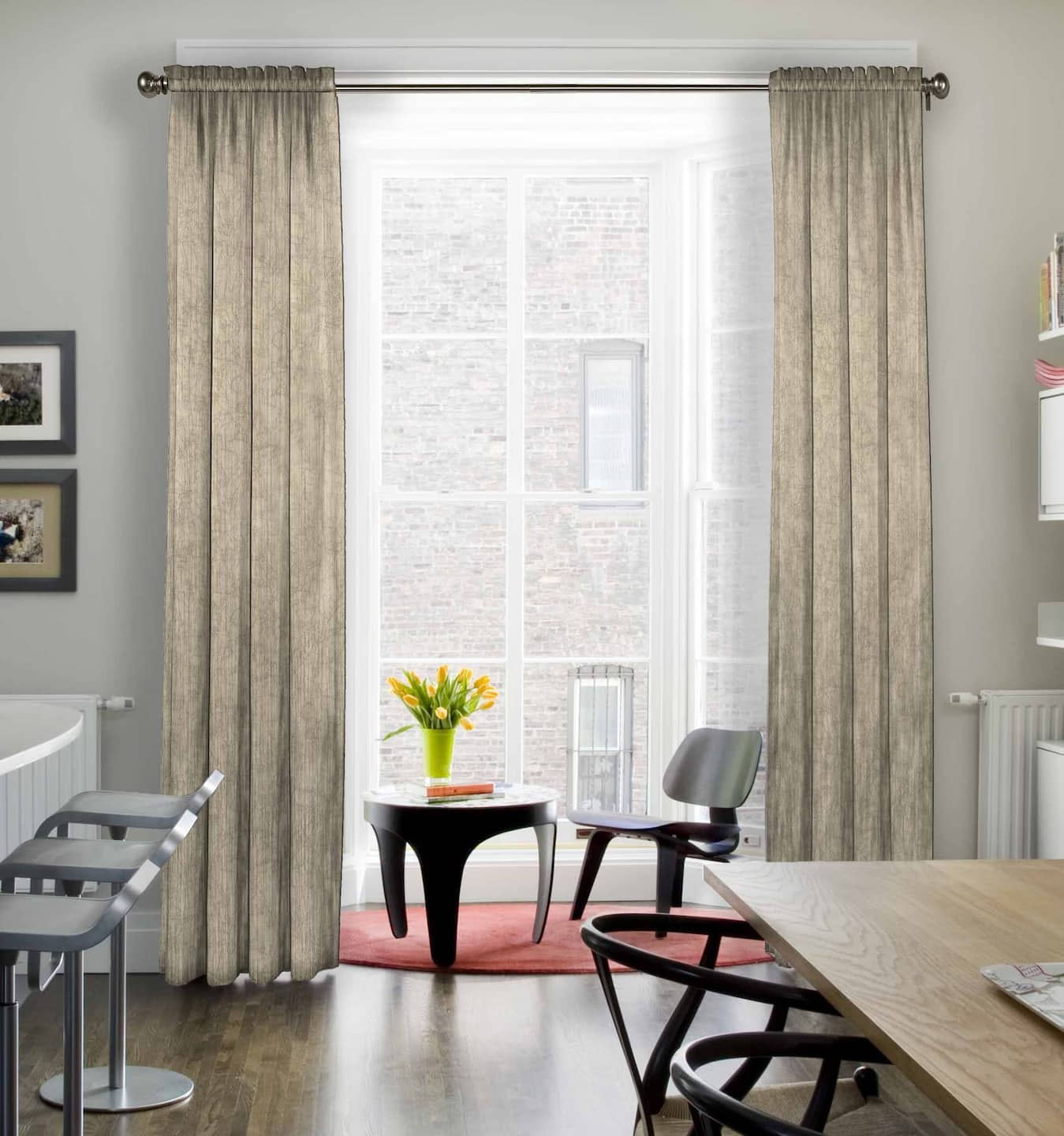 Modern Dining Room With Off White Curtains In A Subtle Pattern Framing Tall