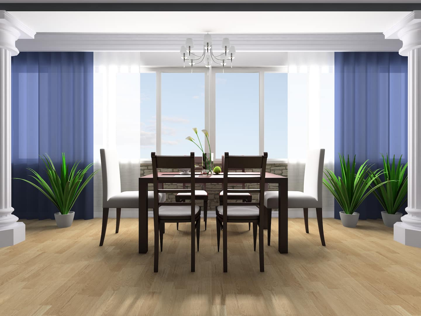 3D Rendering Of A Contemporary Dining Room With Sheer Blue Drapes Layered Over White