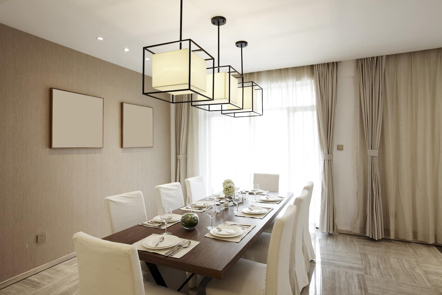 Contemporary Formal Dining Room With Modern Elements, And Off White Drapes  Layered Over Sheer