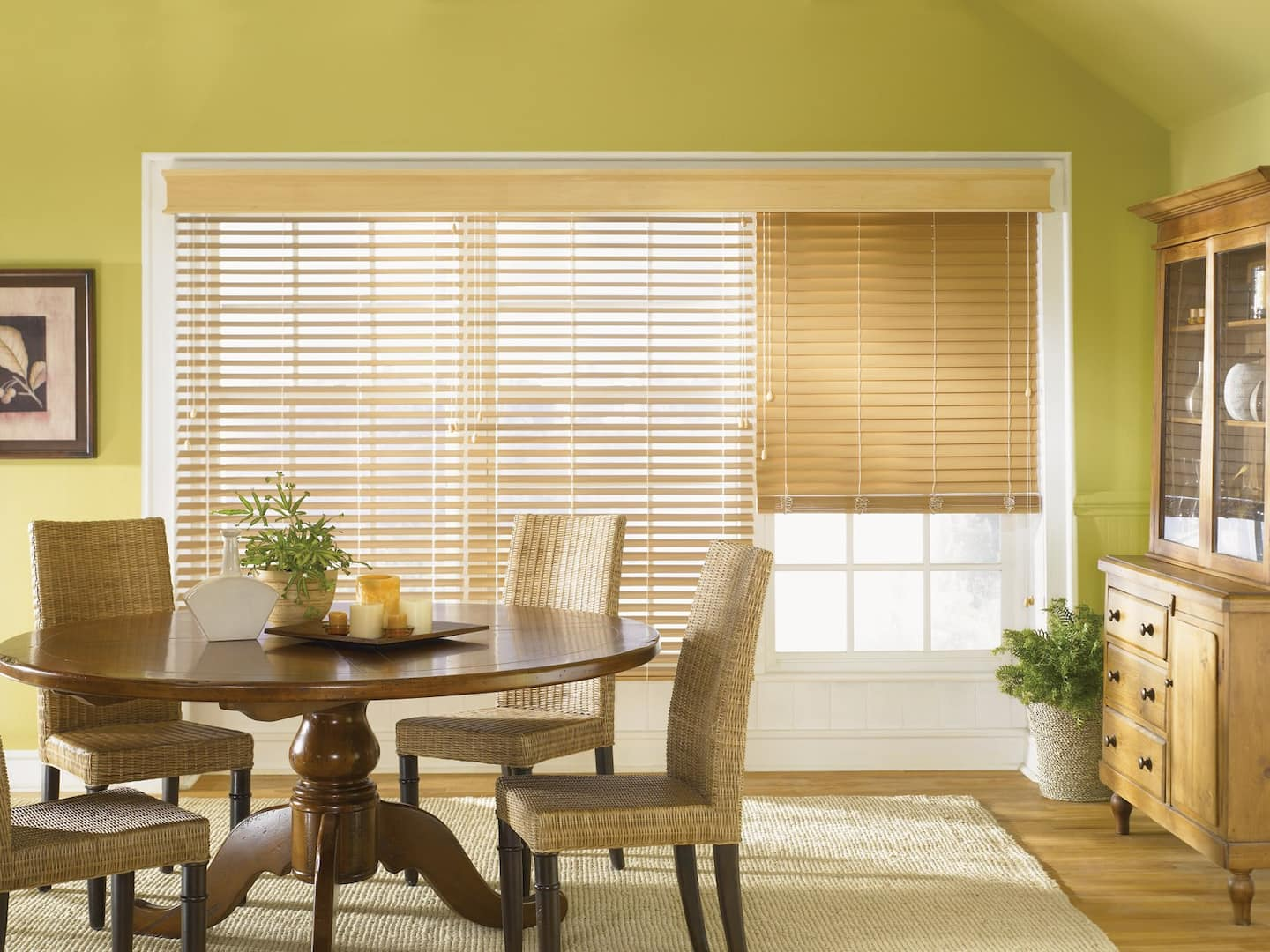 Contemporary Dining Room With Wicker Chairs, Country Style Hutch And  Composite Wood Blinds With
