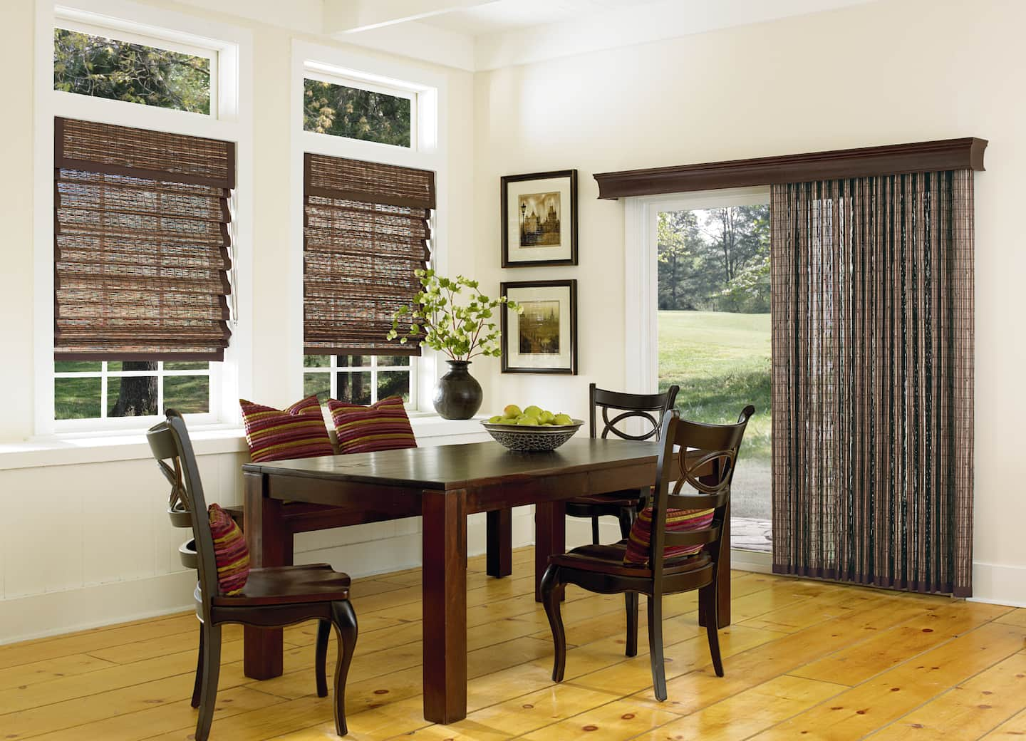 Dining Room Curtain Ideas Part - 25: Contemporary Dining Room With Woven Wood Shades, Woven Wood Vertical Shade  With Cornice Box,
