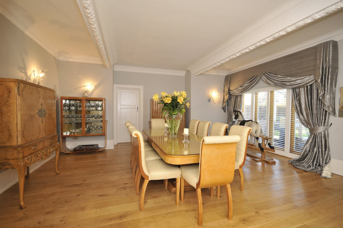 Eclectic Contemporary Dining Room With Scroll Back Chairs, Silver Drapes  With Large Valance,
