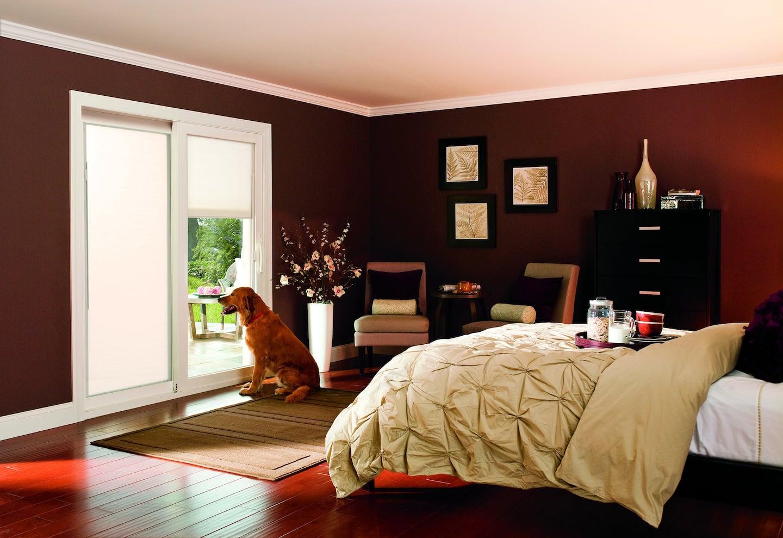 golden retriever looks out sliding glass bedroom doors