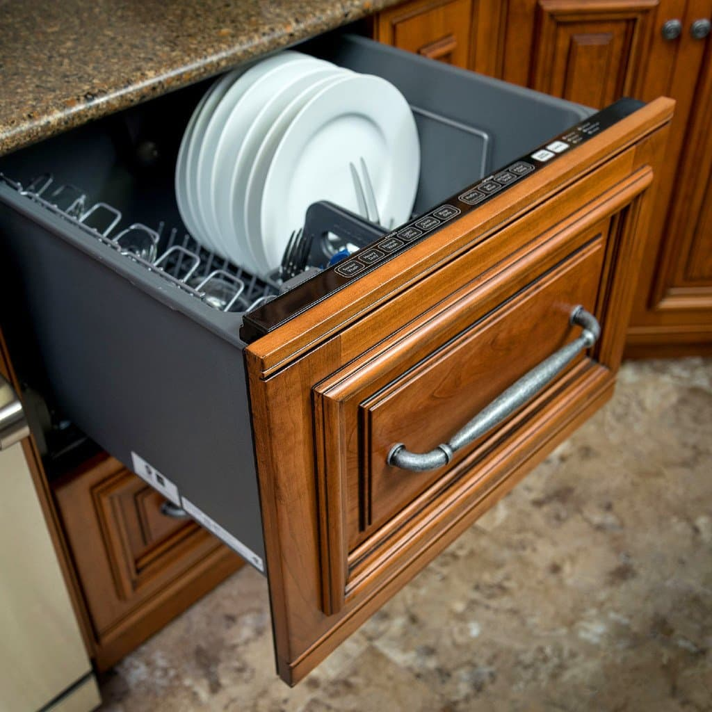 lead kitchen handle on pull out dishwasher drawer