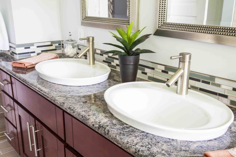 Dual bathroom vanity with high rim drop in sinks. Bathroom Sink Ideas   Angie s List