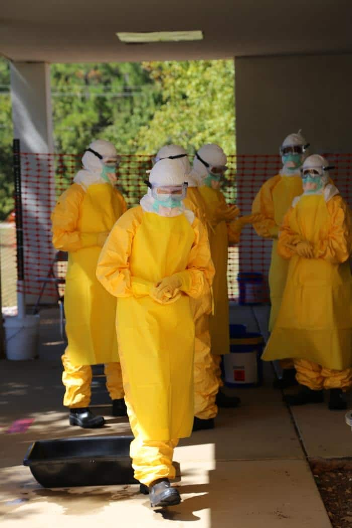 Workers at 35 U.S. Hospitals have trained for several months to treat patients infected with the Ebola virus. (Photo courtesy of the Centers for Disease Control)