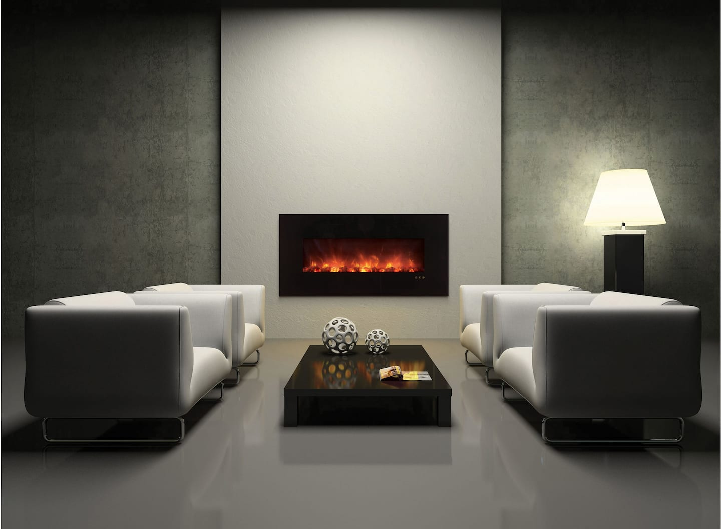 electric fireplace contemporary living room grey decor
