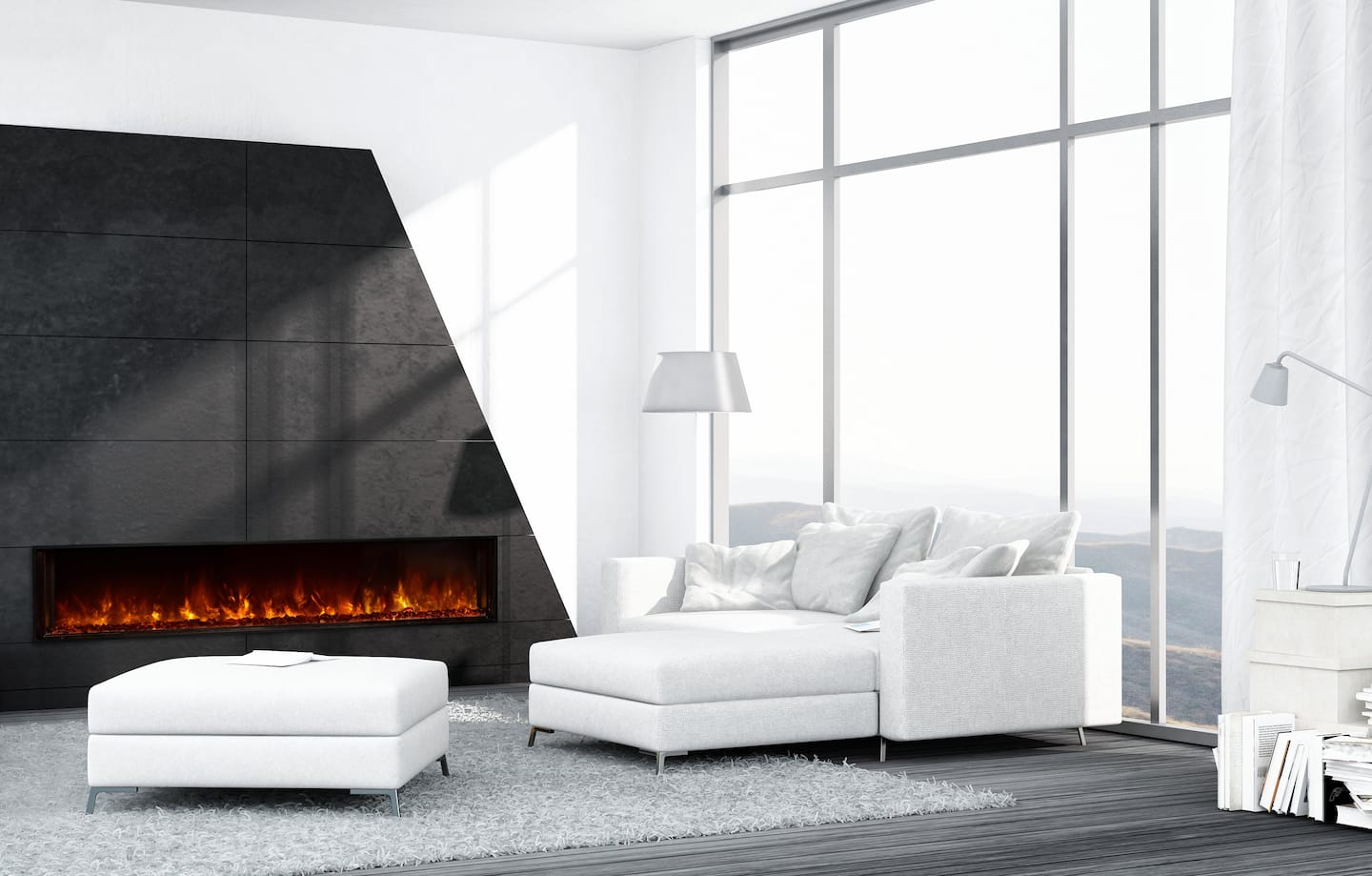 whie room black accent wall electric fireplace