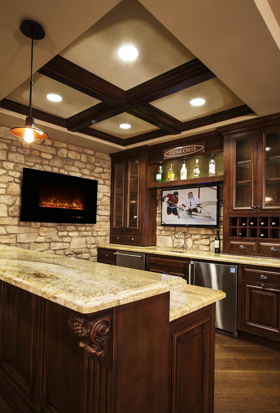 Electric Fireplace Kitchen Vertical Modern Flames Jpg