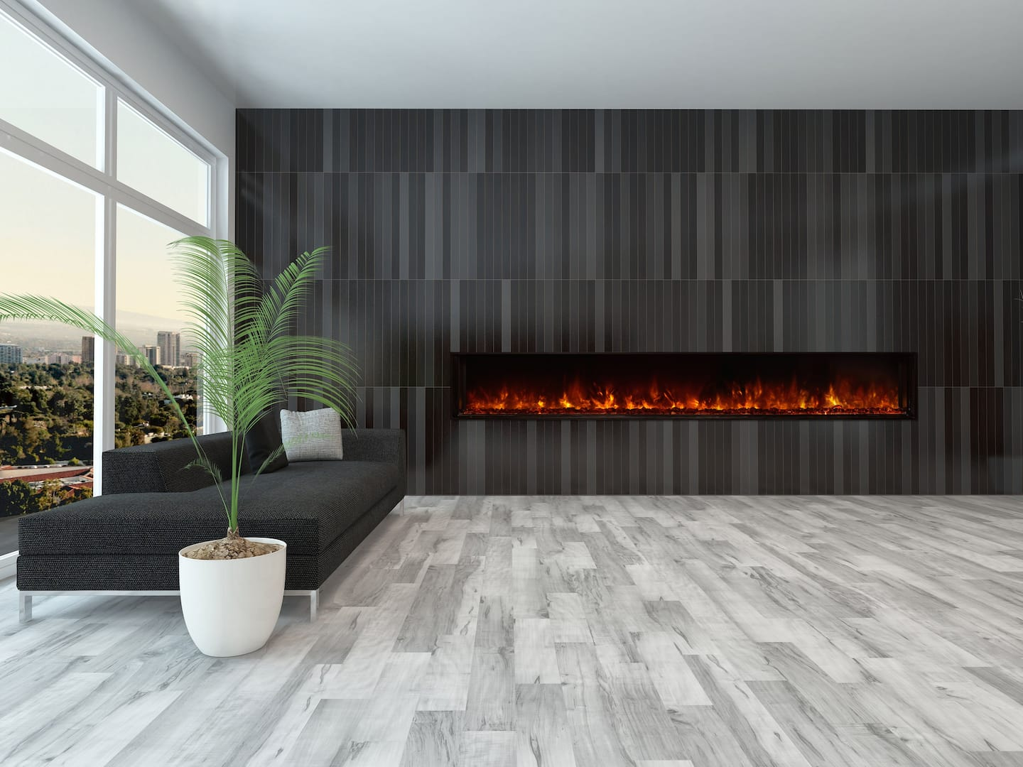 long electric fireplace black tile wall gray tile floor