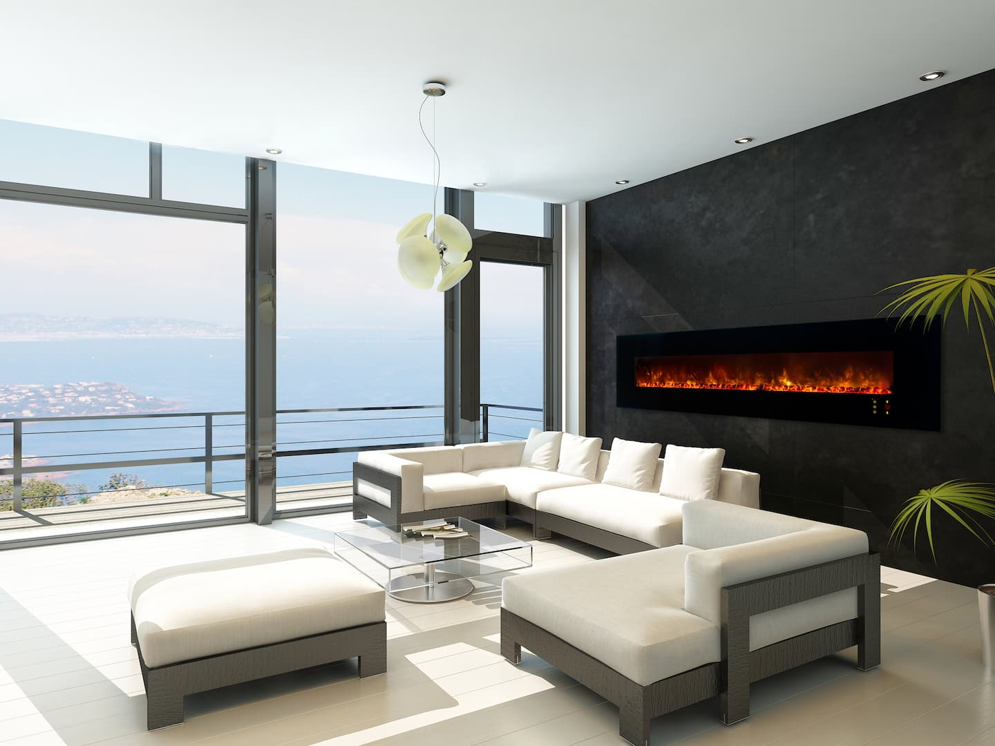 electric fireplace ocean view living room