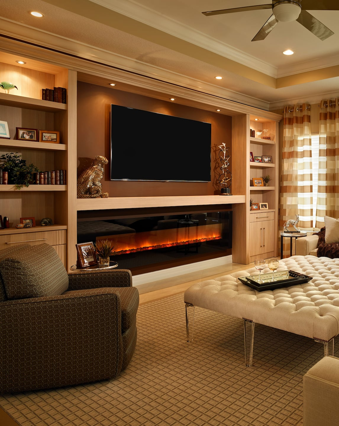 Glowing Electric Fireplace With Wood Hearth And Mantel Built In Wall Tv Mount Bookshelves