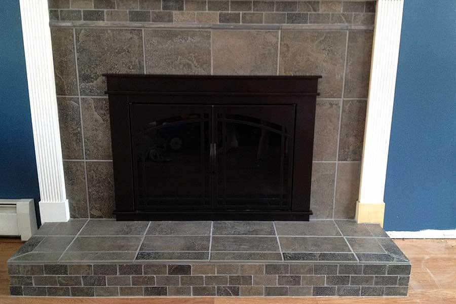 tiled fireplace and hearth