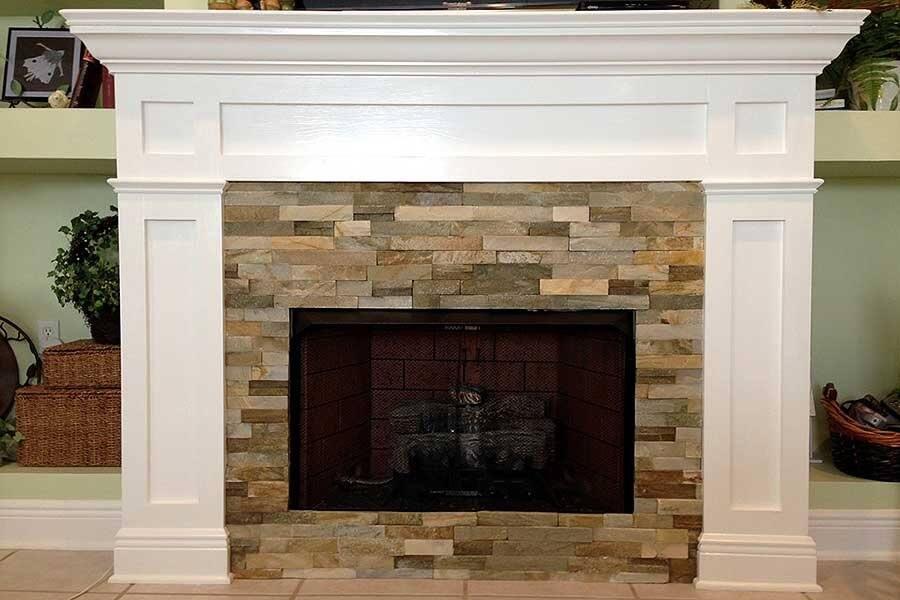 colorful stone fireplace surround