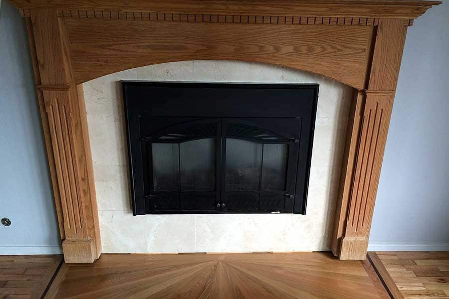 gas fireplace with decorative hearth