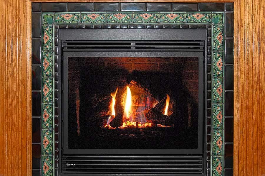 fireplace with tile surround