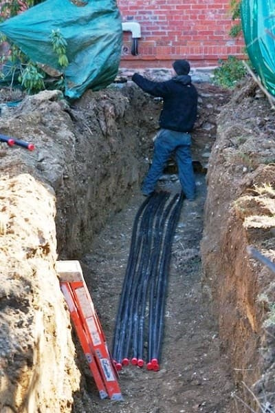 For this geothermal heat installation, workers dug a 5-foot-deep, 4-foot-wide trench from the house to the well site 100 feet away. (Photo courtesy of Angie's List member Robert S. of Poughkeepsie N.Y.)