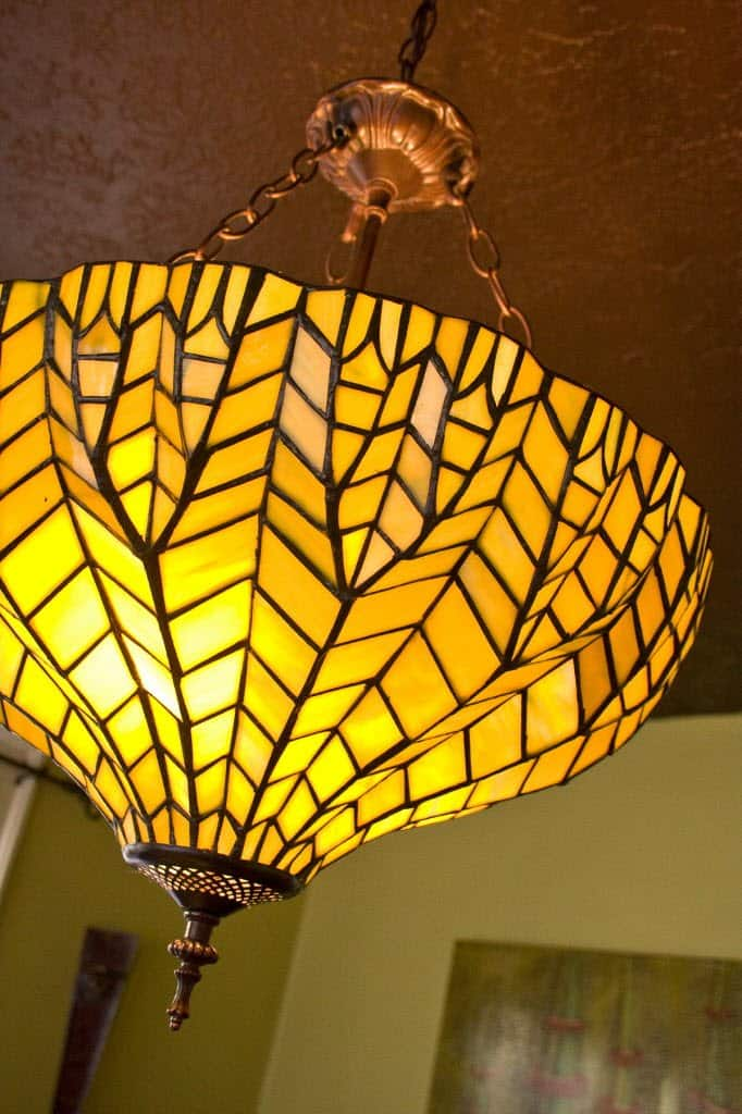 stained glass shade chandelier