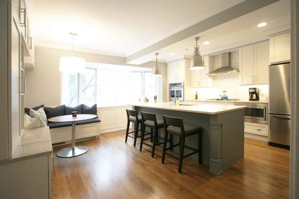 dark taupe kitchen island in white kitchen