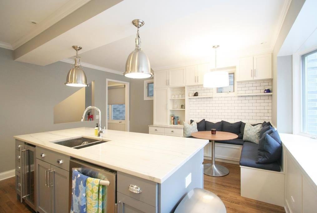 light gray kitchen island bar in white kitchen