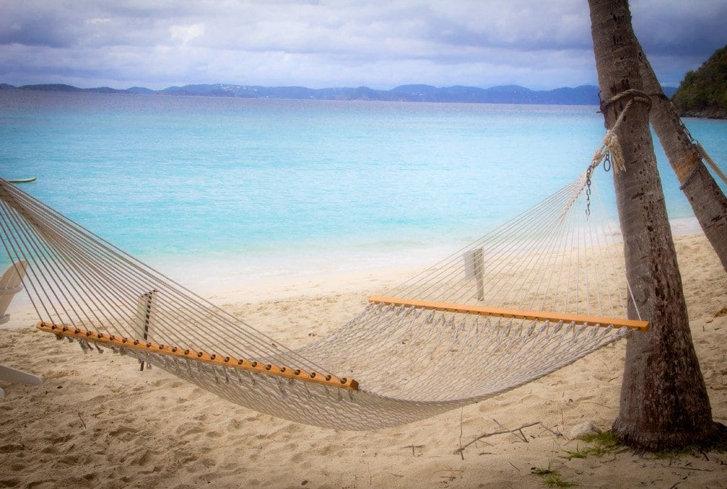 Hammock hanging in the Virgin Islands
