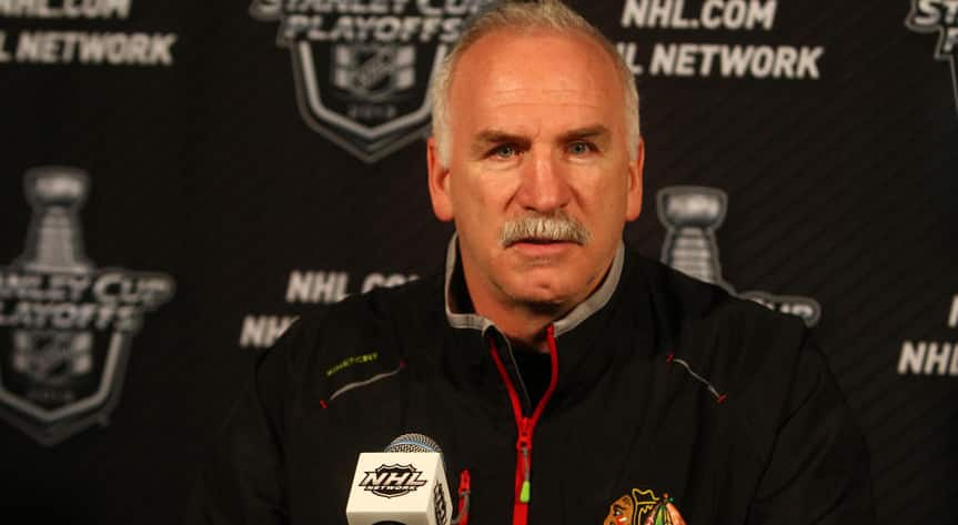 Chicago Blackhawks Coach Joel Quenneville has been sporting his signature mustache for about 40 years. (Photo courtesy of the Chicago Blackhawks)