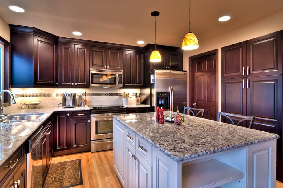 kitchen remodel with new cabinets and countertops