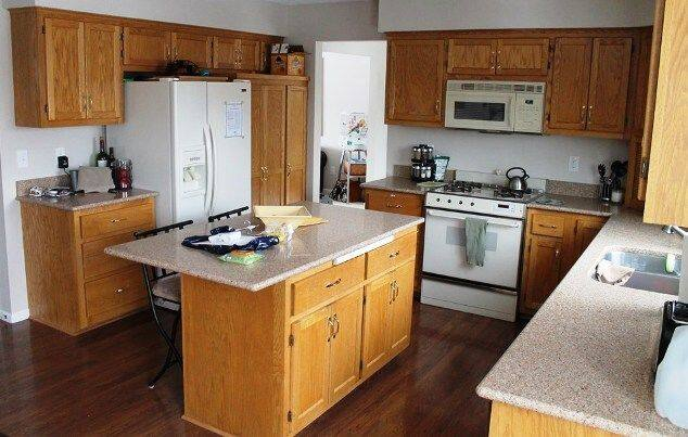 Before: This member really didn't like the blonde-colored oak cabinets in his kitchen. (Photo courtesy of Angie's List member Kevin Baur of Lakeville, Minn.)