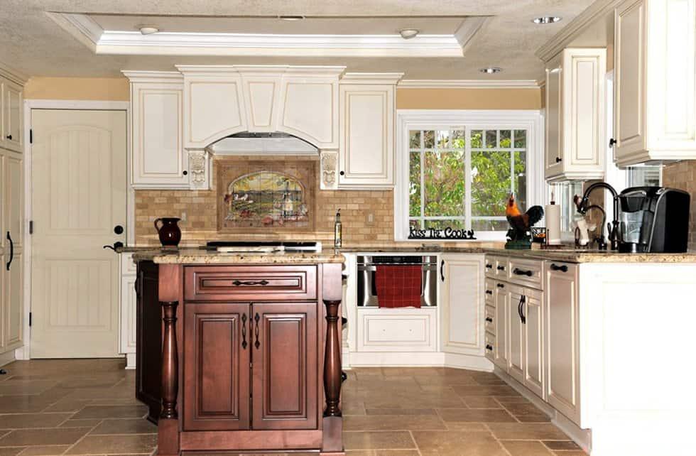kitchen remodel with tile floors and backsplash
