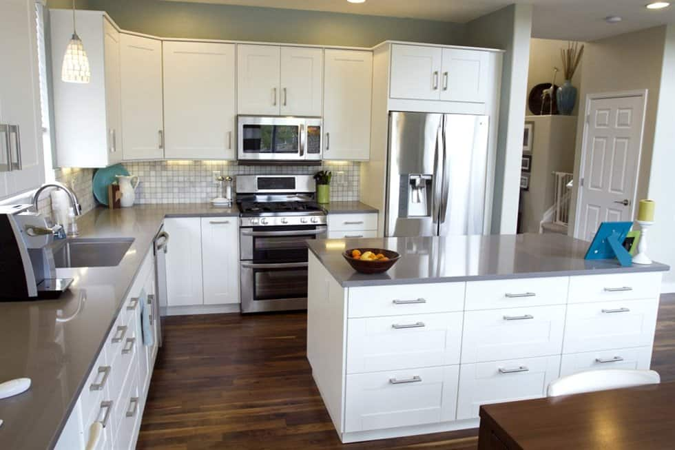 kitchen remodel with new countertops and fixtures