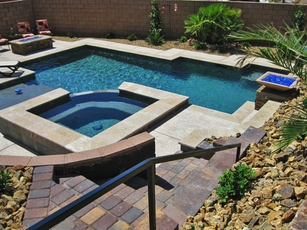Pool Design Las Vegas ds freeform pool 22 The Las Vegas Couple Fell In Love With The Geometric Pool Design Photo Courtesy