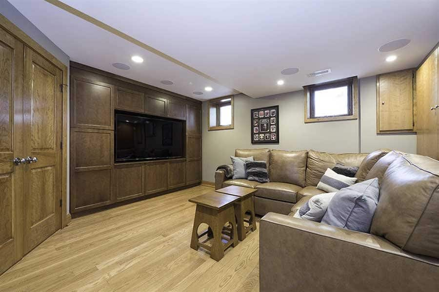 basement remodel with new media room