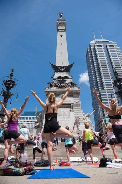 About 1,500 yogis celebrated the summer solstice on Monument Circle in June. (Photo courtesy of Amanda Reynolds)
