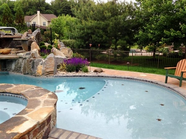 The new pool includes a waterfall, spa and water slide. (Photo courtesy of Angie's List member Steven M. of Doylestown, Pa.)