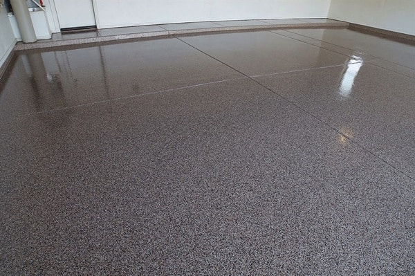 The flooring in the garage is made of a decorative, chip epoxy. (Photo courtesy of Angie's List member Richard R. of Glendale, Ariz.)