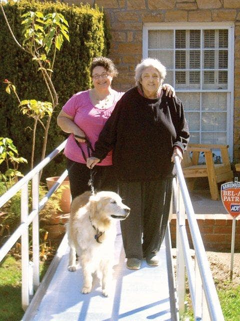 Photo courtesy of Tracy McCubbin | Sabrina Wurf (left) says her mother is now able to use a walker, and the new ramp gives her more freedom.