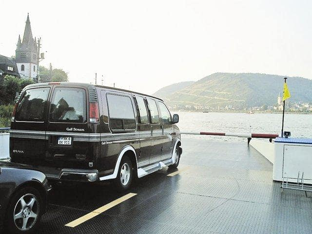 """This is my van on a ferry on the Rhine in Idar-Oberstein, Germany, the birthplace of Bruce Willis,"" Steelman says."