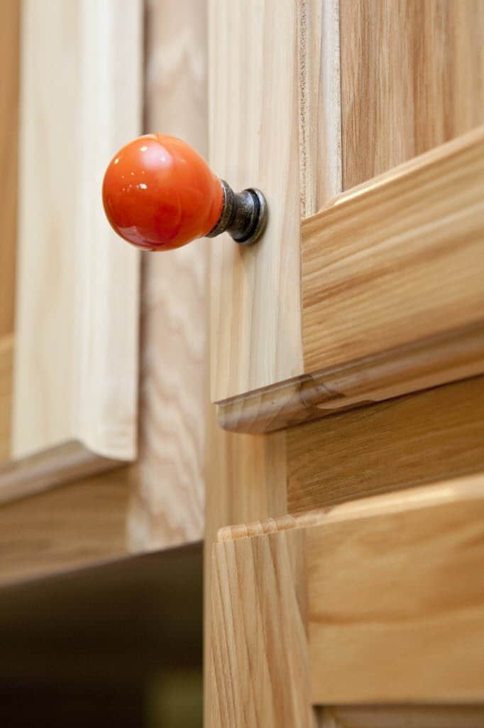red kitchen cabinet pull