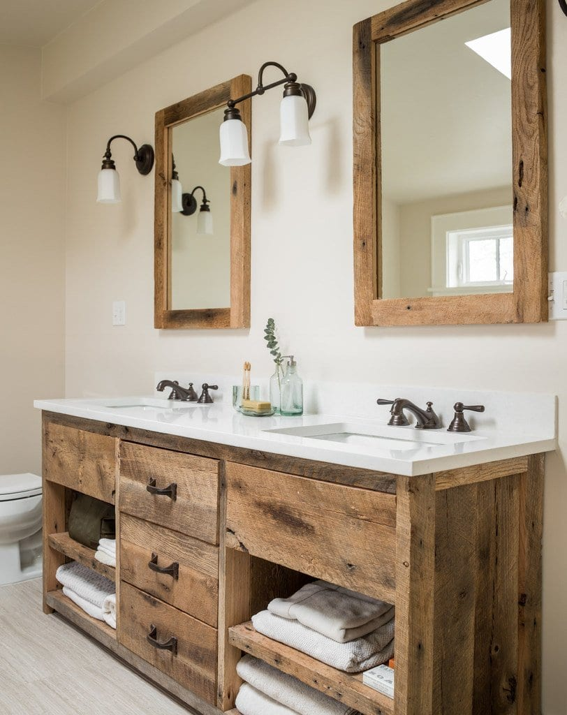 Rustic Wood Double Bathroom Vanity