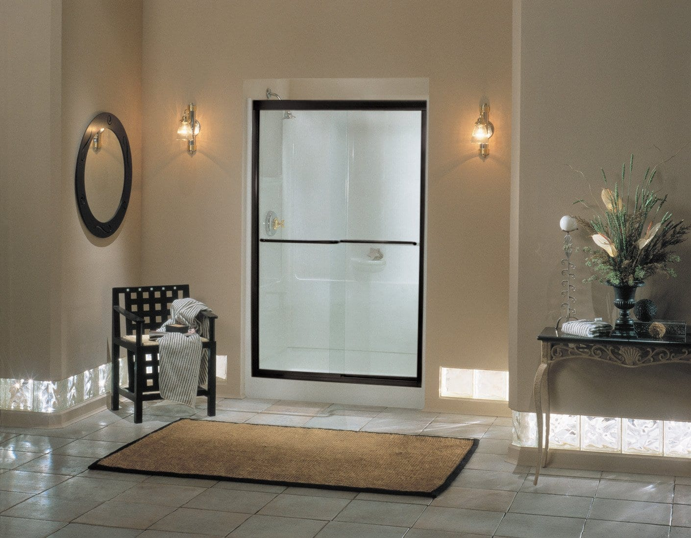 bathroom with frameless bypass doors